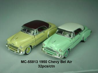 Die Cast 1950 Chevy Bel Air Motormax 124 Scale Green/Yellow